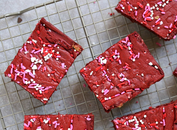 You'll have a hard time not licking the batter off the spoon when you make this Semi-HomemadeRed Velvet Cake Bars recipe!