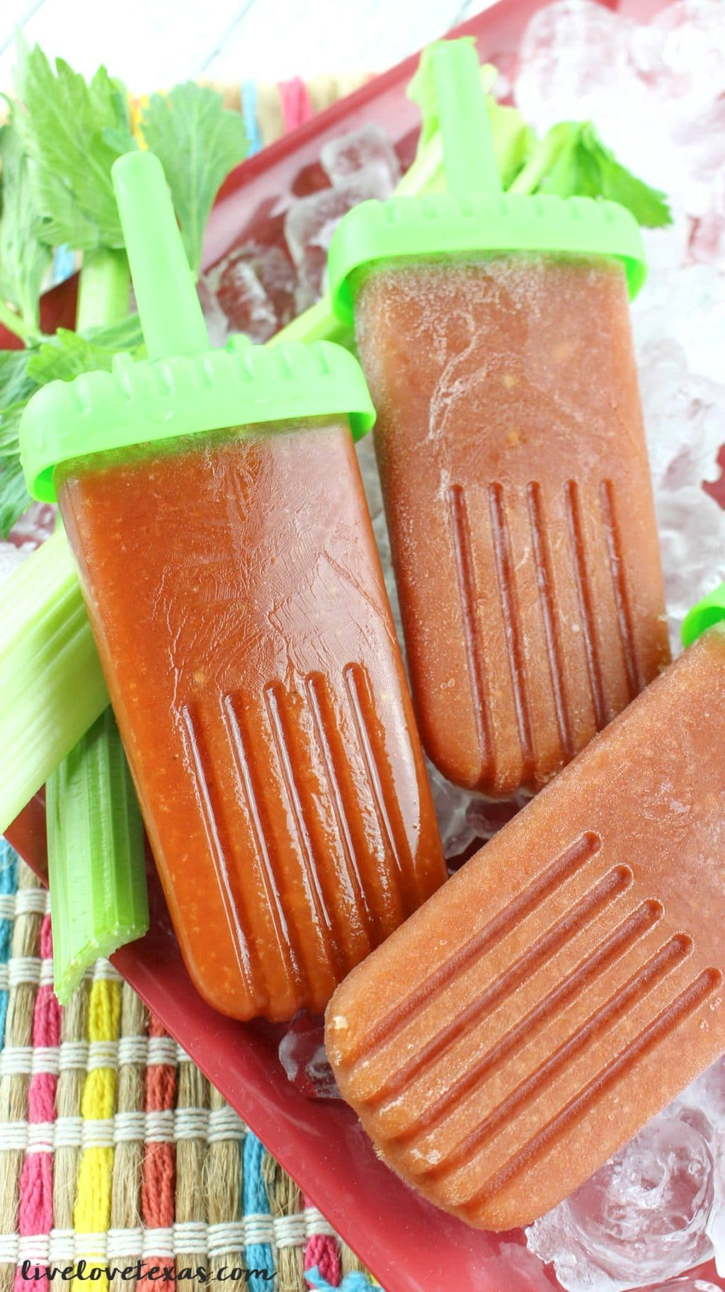 Get nostalgic for the homemade ice pops from your childhood with an adult twist! Try this cold and refreshing Boozy Bloody Mary Ice Pops recipe.