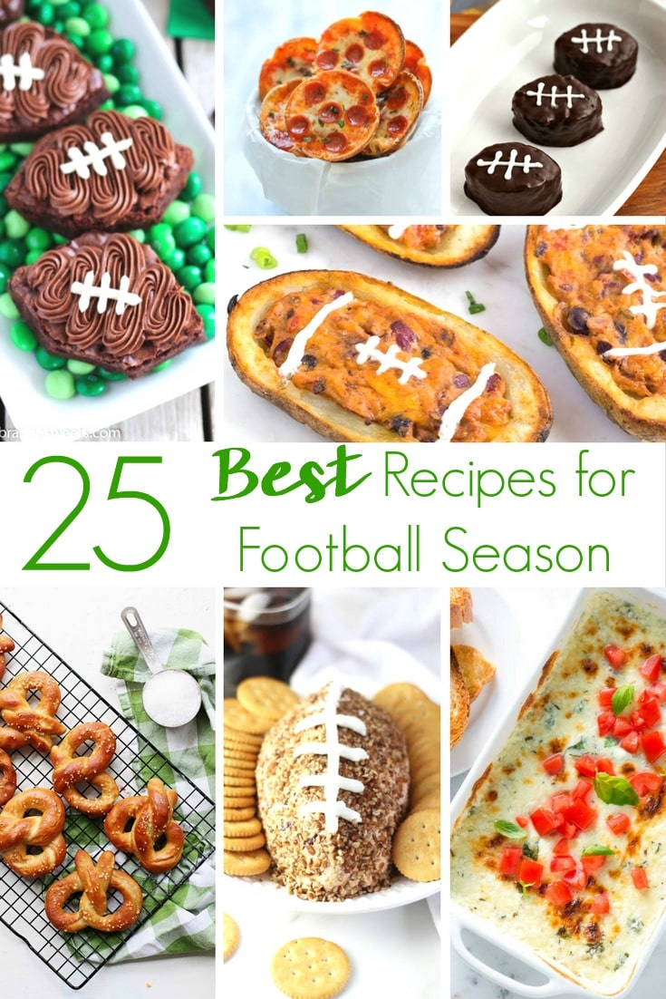Don't keep eating the same boring food during football season you always do. This year, get inspired by 25 of the Best Football Game Recipe Ideas! From football shaped desserts to the perfect appetizers for a football game at home or tailgating at the stadium, this roundup has them all!