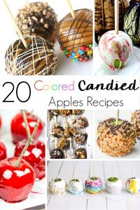 A classic Halloween treat, just got a facelift with these colored candied apples recipes. Fun ideas for new colors, textures, and flavors! #candyapples #candiedapples #apples #halloweenfood #halloweenrecipes #fallrecipes #desserts #applerecipes #coloredcandiedapples #coloredcandyapples #candyapplerecipes