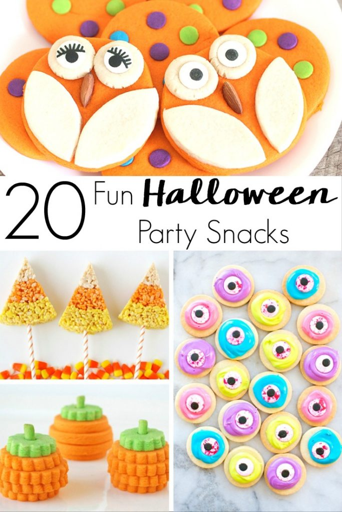 Get in the Halloween spirit with this amazing collection of 20 Festive and Fun Halloween Party Snacks! Appetizers, desserts, and more!