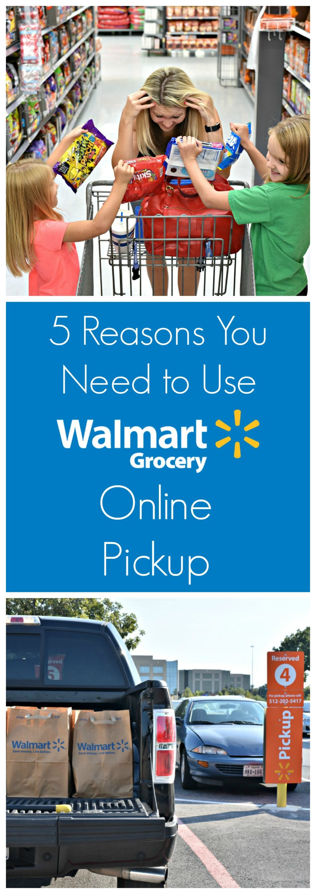 Grocery shopping with kids is hard work and a chore. Here are 5 Reasons You Need to Use Walmart Grocery Online Pickup Service to save time and your sanity!