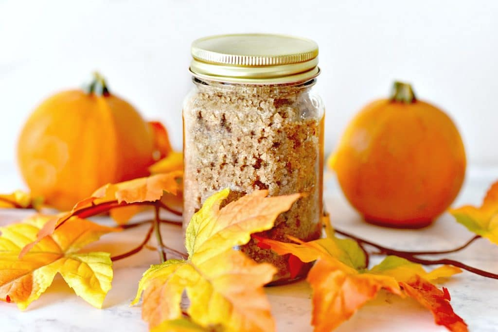 This easy to make pumpkin spice sugar recipe has only four ingredients and is perfect for gifts or your own homemade personal body scrub.