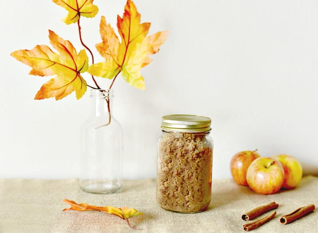 Enjoy the smells of fall while prepping your skin for next summer with this easy Homemade Apple Cinnamon Sugar Scrub Recipe using only 5 ingredients!