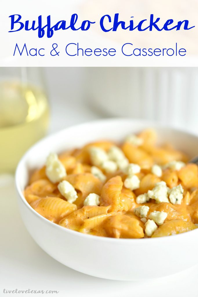 This recipe for Buffalo Chicken Mac & Cheese Casserole combines homemade mac & cheese with rotisserie chicken and buffalo sauce for one amazing dish!