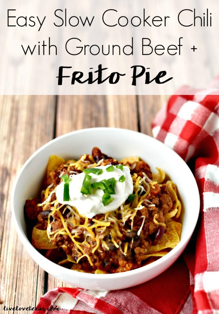 This easy crockpot chili recipe is the perfect midweek dinner or perfect for tailgating. Plus, learn how to turn your leftovers into Frito Pie on day two! #recipe #recipes #chilirecipe #chili #groundbeefrecipes #groundbeef #easychili #slowcookerrecipes #slowcooker #crockpot #crockpotrecipes #crockpotchili #fritopie #soup #chilibeans