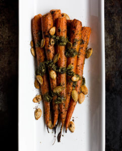 Roasted Carrots with Pesto Butter