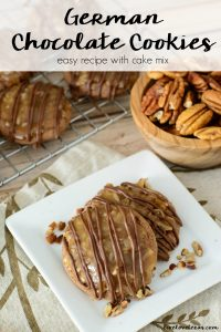This easy recipe for German Chocolate Cookies with Cake Mix has all the flavor of German chocolate cake in individual portions! #germanchocolate #chocolatecookies #chocolate #cookies #cookierecipes #cookierecipe #cakemix #cakemixrecipes #pecans #dessertrecipes #dessert #christmascookies #christmascookieexchange #bestcookierecipes