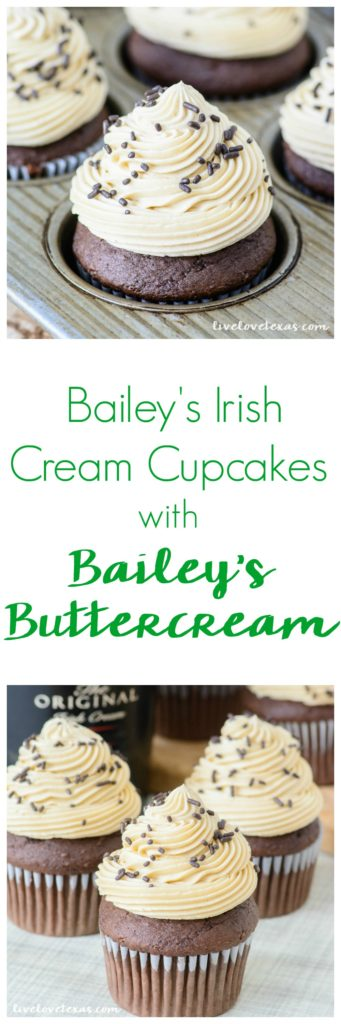 Forget plain old cupcakes. Take your dessert game to the next level with this Chocolate Bailey's Irish Cream Cupcakes recipe with Bailey's Irish Cream Buttercream Frosting. These rich chocolate cupcakes have Bailey's Irish Cream mixed into the batter and another dash of Bailey's is added to the perfectly balanced homemade buttercream. These cupcakes will leave an impression whether they're for St. Patrick's Day or another party! #irishcreamrecipes #baileysirishcream #baileysrecipes