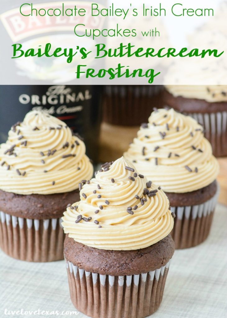Forget plain old cupcakes. Take your dessert game to the next level with this Chocolate Bailey's Irish Cream Cupcakes recipe with Bailey's Irish Buttercream Frosting. These rich chocolate cupcakes have Bailey's Irish Cream mixed into the batter and another dash of Bailey's is added to the perfectly balanced homemade buttercream. These cupcakes will leave an impression whether they're for St. Patrick's Day or another party! #irishcreamrecipes #baileysirishcream #baileysrecipes