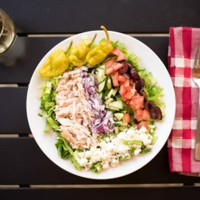 Easy Greek Salad with Rotisserie Chicken Recipe