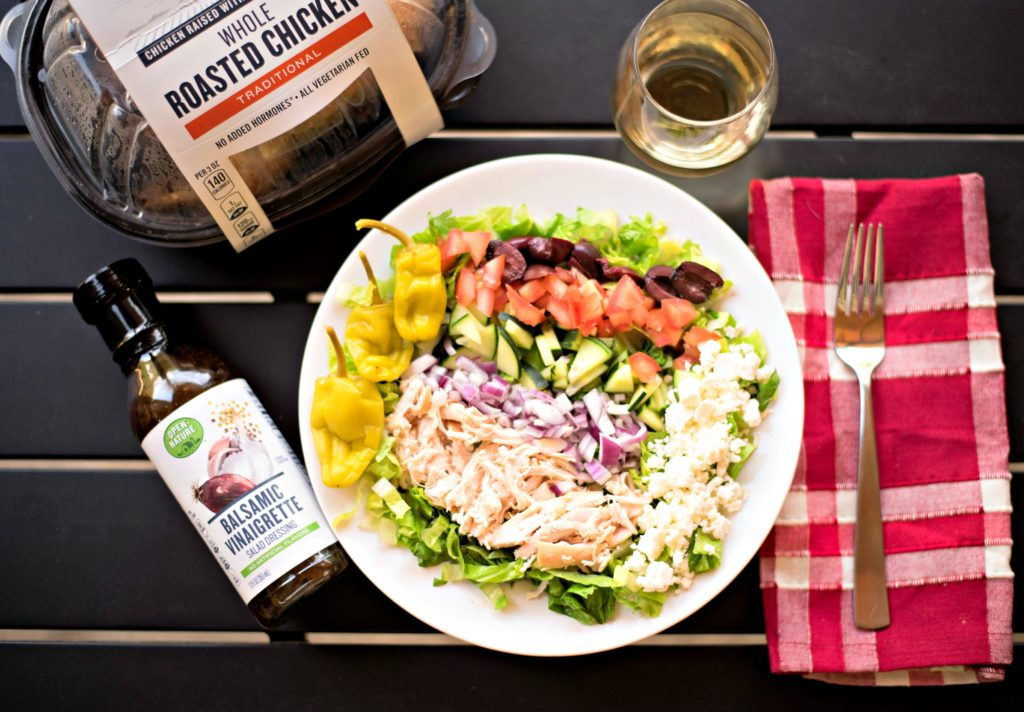 During the summer, you're busy and don't want to be a slave to the stove. This Easy Greek Salad with Rotisserie Chicken recipe is perfect for hot summer nights and is light, flavorful, and super simple to make for a quick dinner!