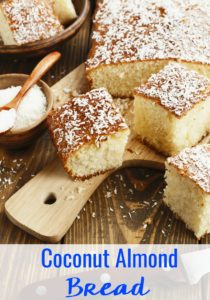 This Simple & Sweet Coconut Almond Bread recipe uses 10 basic ingredients you already have in your kitchen and makes the most heavenly smell that will instantly transport you to the tropics.