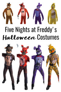 No matter who your child's favorite FNAF character is, there's a Five Nights Freddy Halloween Costumes for everyone! You can choose between the regular or nightmare versions and I'm sharing some alternatives for the masks so they can wear the costumes to school!