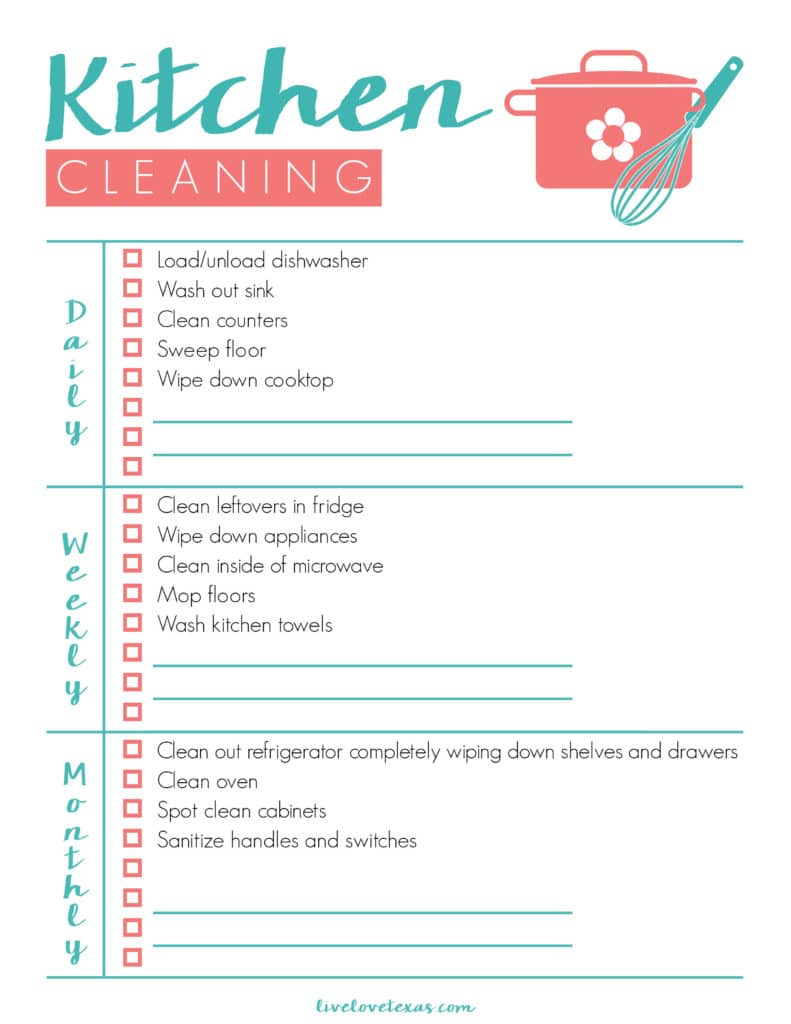 photograph relating to Cleaning List Printable identified as Absolutely free Kitchen area Cleansing List Printable Each day, Weekly