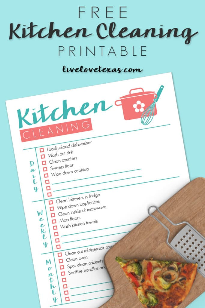 Cleaning the kitchen can sometimes feel overwhelming. Just keeping up with the dishes can seem impossible, so I created this Free Kitchen Cleaning Checklist Printable to help you stay on track with a spotless kitchen every day!