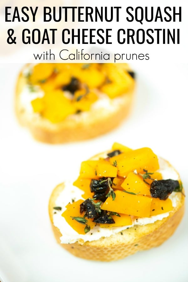 This easy Butternut Squash Crostini recipe is such a great appetizer for fall entertaining. It's the perfect Thanksgiving appetizer recipe or could be served on larger slices of bread for a full side. Guests will never believe that this recipe has just four simple ingredients but tastes amazing.
