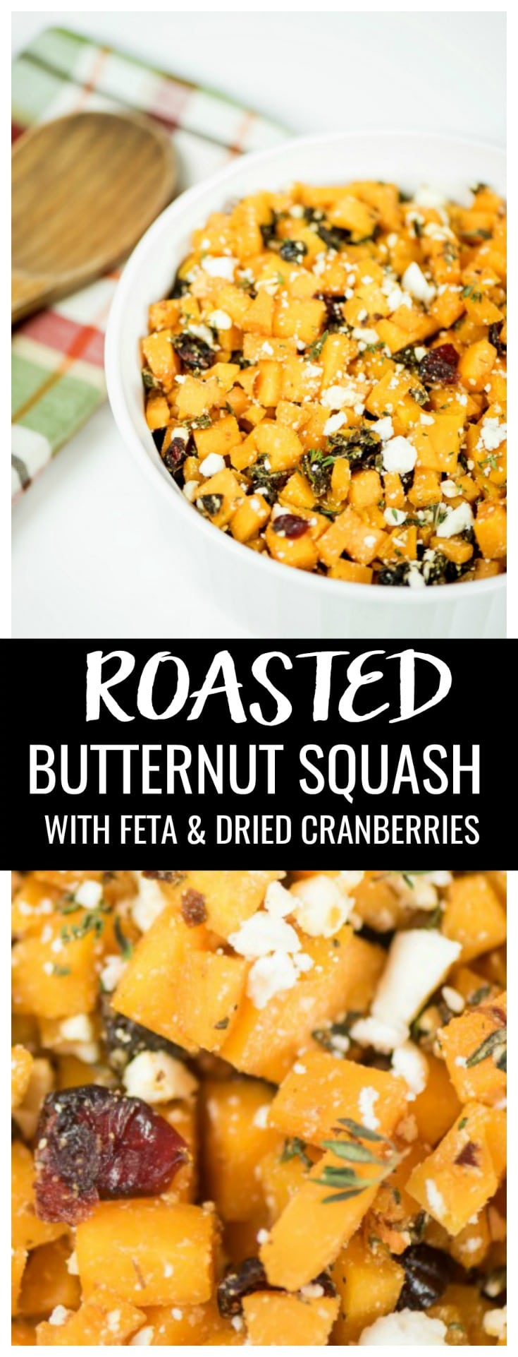 This Roasted Butternut Squash recipe has all the flavors of fall and makes an unexpectedly delicious Thanksgiving side dish. Easy to make and with fresh veggies! #recipes #thanksgiving #sidedishes #butternutsquash #cranberries #veggiesidedish #thanksgivingveggies #thanksgivingrecipes #squashrecipe