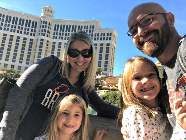 Family Las Vegas Trip in Front of Bellagio Hotel