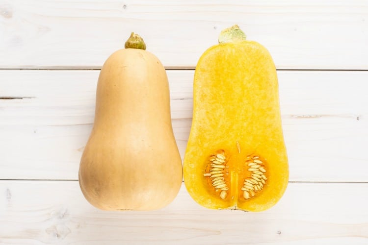 Raw Butternut Squash Outside and Inside
