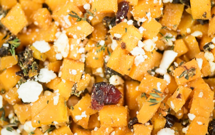 Close up of Thanksgiving Side Dish of Roasted Butternut Squash