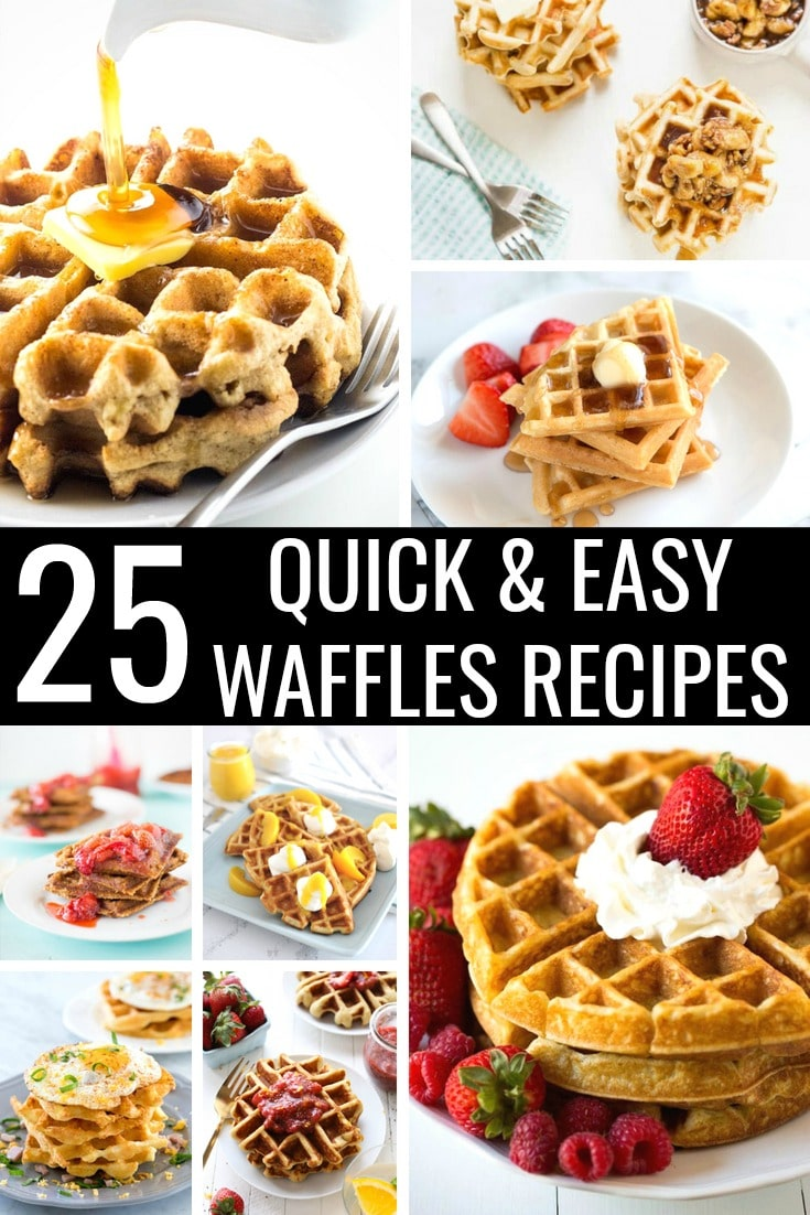 These 25 Quick & Easy Waffle Recipes range from basic and sweet to creative and savory. These are the perfect, homemade waffle recipes for every breakfast or brunch. #wafflesrecipes #waffles #waffle #wafflerecipes #breakfastrecipes #brunchrecipes #recipes #easy #belgian #homemade #savory #toppings #keto #glutenfree