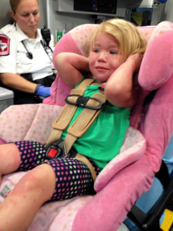 girl toddler febrile seizure in ambulance
