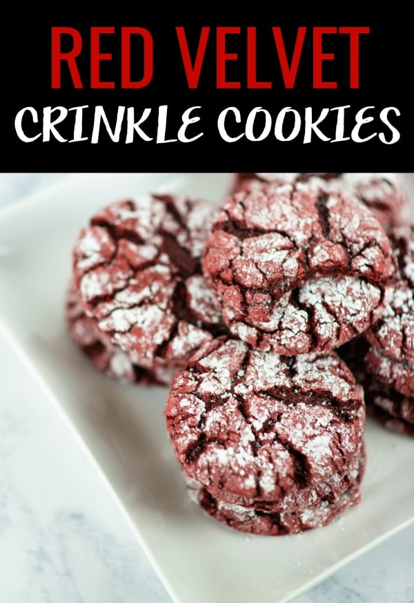 These delightful red velvet crinkle cookies are made with boxed cake mix. So there is less measuring, less fuss, and more time for laughing and eating cookies. #sponsored #redvelvet #redvelvetrecipes #redvelvetcookies #cookiesrecipes #cookierecipes #dessertrecipes #desserts #christmascookies