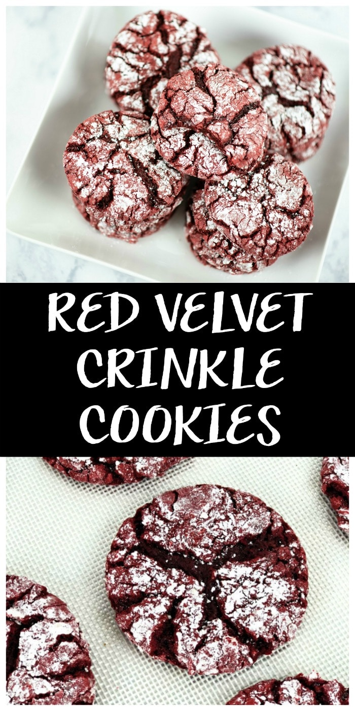 These delightful red velvet crinkle cookies are made with boxed cake mix. So there is less measuring, less fuss, and more time for laughing and eating cookies. #redvelvet #redvelvetrecipes #redvelvetcookies #cookiesrecipes #cookierecipes #dessertrecipes #desserts #christmascookies