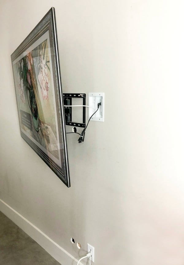 Wall mounted TV hiding wires.