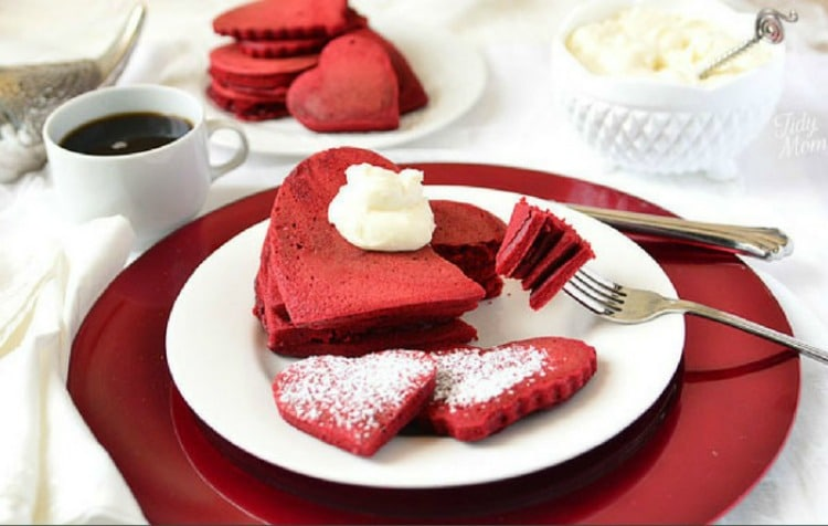 Red Velvet Pancakes for Valentine's Day breakfast