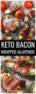 Just because you're on a special diet doesn't mean you can't indulge your cravings. Whether you're low carb, gluten free, or keto these bacon wrapped jalapeno poppers are the perfect snacks or appetizer! #jalapenopoppers #keto #ketorecipes #lchfrecipes #ketoappetizers