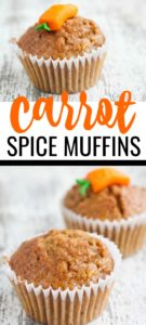 Spiced carrot muffins on white table.