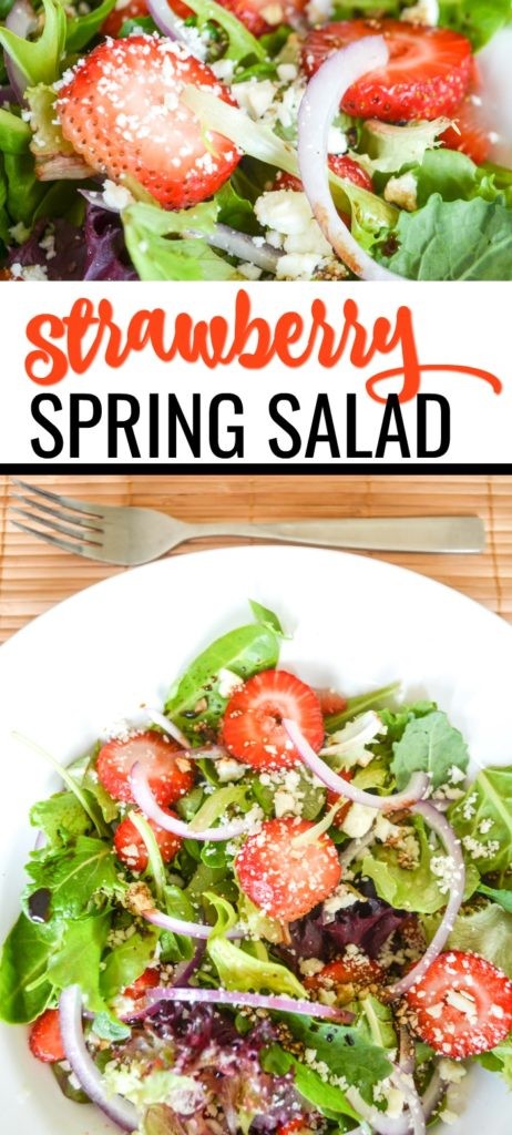 Fresh and easy strawberry salad recipe with balsamic in bowl.