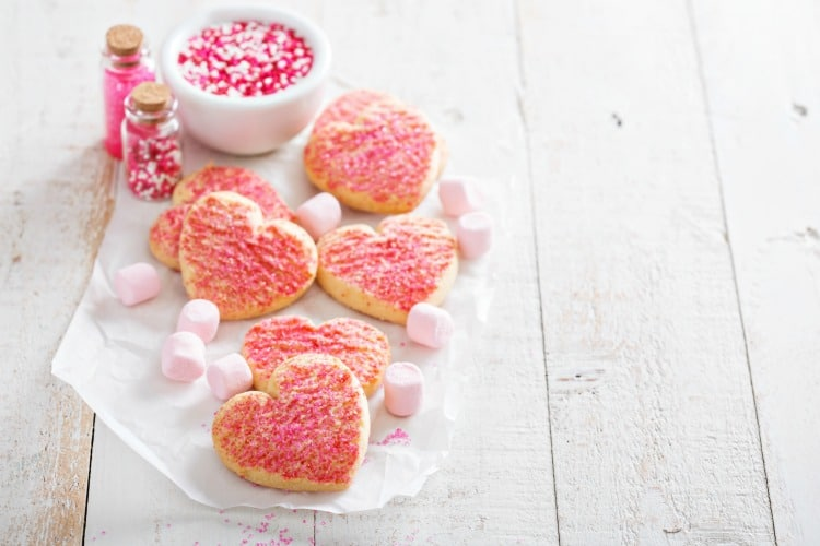 Valentines day heart shaped cookies with pink sprinkles