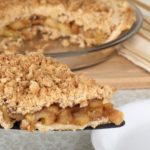Deep Dish Apple Crumb Pie slice on pie server