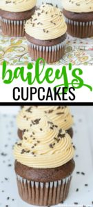 Forget plain old cupcakes. Take your dessert game to the next level with thisChocolate Bailey's Irish Cream Cupcakes recipe with Bailey's Irish Buttercream Frosting. These rich chocolate cupcakes have Bailey's Irish Cream mixed into the batter and another dash of Bailey's is added to the perfectly balanced homemade buttercream. These cupcakes will leave an impression whether they're for St. Patrick's Day or another party! #irishcreamrecipes #baileysirishcream #baileysrecipes