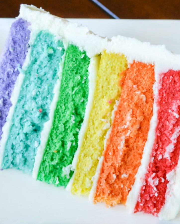 Learn how to make this easy rainbow cake recipe using boxed cake mix. This cool cake idea is perfect for birthdays! You can swirl the buttercream rainbow cake for a tie dye cake or make a 6 layer rainbow cake. No matter how you bake it, this big rainbow cake is the perfect dessert for every celebration! #rainbowrecipes #stpatricksday #rainbowcake #buttercreamfrosting
