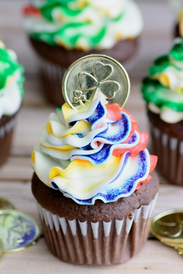 Easy Chocolate Cupcakes Recipe from Scratch + Rainbow Buttercream Frosting