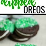 Green and white chocolate covered Oreo cookies for St. Patrick's Day snacks.