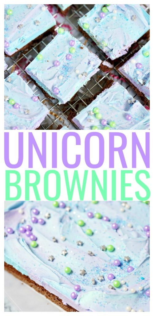 Do you have a magical party coming up? These unicorn brownies are perfect for the unicorn-fan in your family. And depending on how you decorate them, they can double as mermaid brownies too! #unicorn #mermaid #brownies #desserts #unicornfood #partyfood #foodforkids