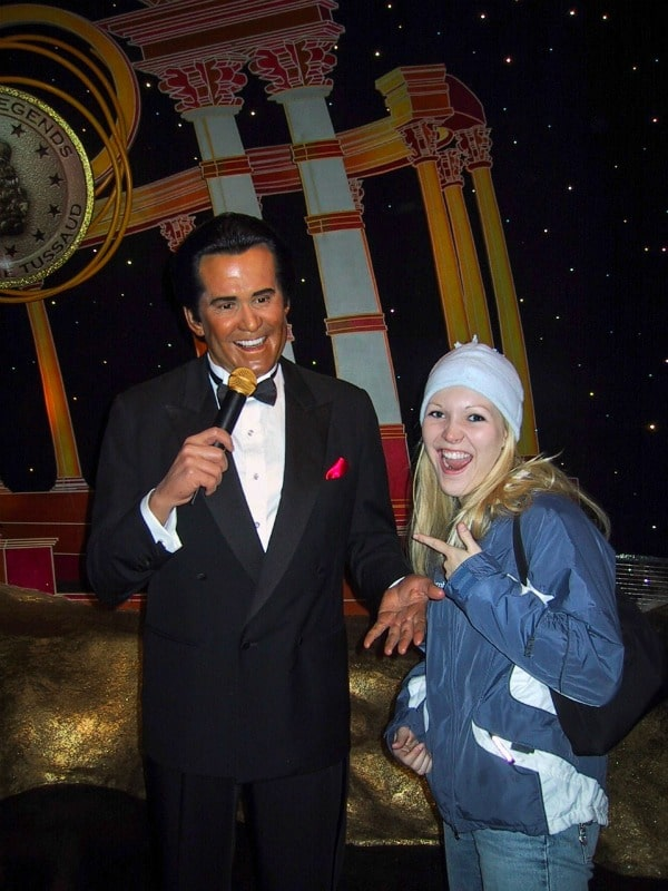 Woman standing with Wayne Newton at Madame Tussaud's Museum at the Venetian Hotel