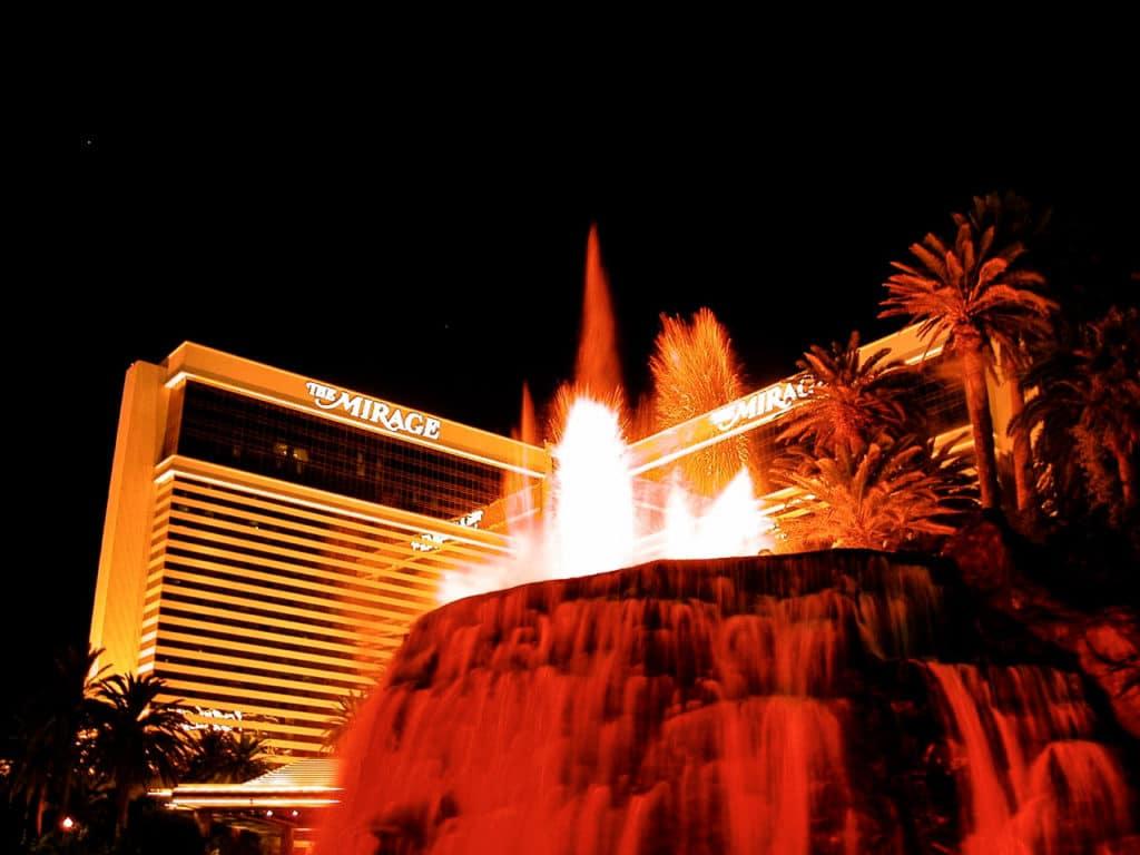 Mirage volcano exploding in Las Vegas.