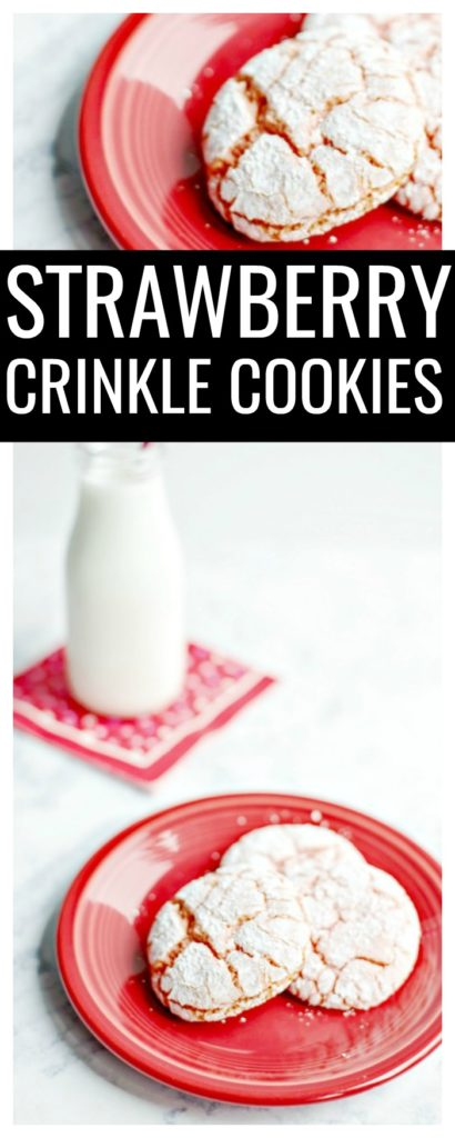 Looking for a last minute easy Valentine's Day dessert recipe? This strawberry crinkle cookies recipe is so easy, delicious, and festive for a Valentine's snack!