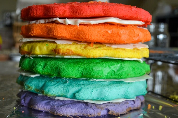 Tie dye rainbow colored layer cake.