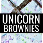 Frosted unicorn brownies with sprinkles.
