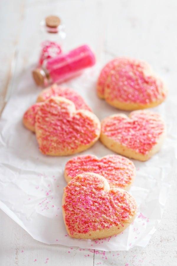 Valentines day sugar cookies with pink sprinkles