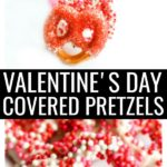 This White Chocolate Covered Pretzels recipe is a fun and delicious Valentine's Day snack idea. This easy dessert has the perfect balance of salty and sweet, covered with a little festive flair to celebrate Valentine's Day! #valentinesday #valentinesdayrecipes #coveredpretzels #snacks