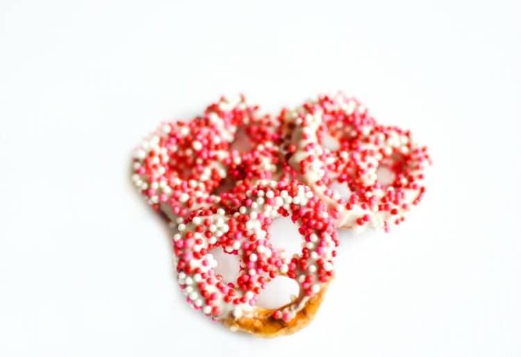 Covered pretzels for Valentine snacks.