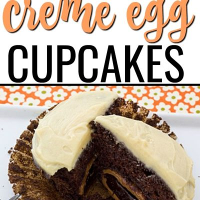Cadbury Chocolate Creme Egg Cupcakes with Salted Caramel Frosting